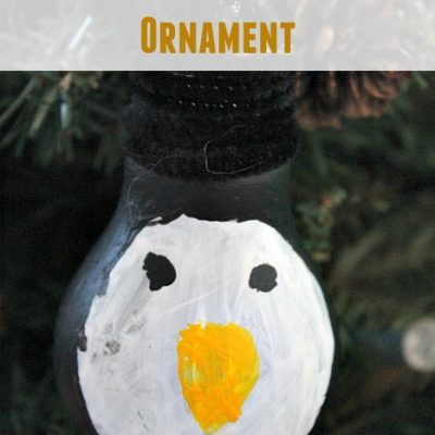 DIY Repurposed Penguin Lightbulb Ornament