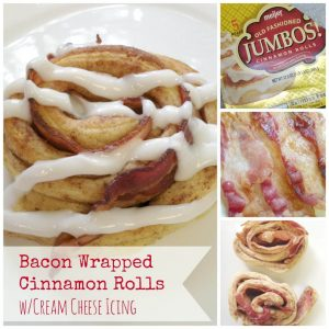 Bacon Wrapped Cinnamon Rolls with Cream Cheese Icing