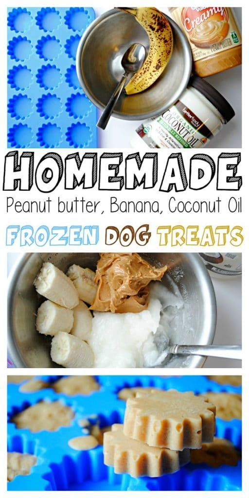 homemade dog treats using peanut butter, banana and coconut oil
