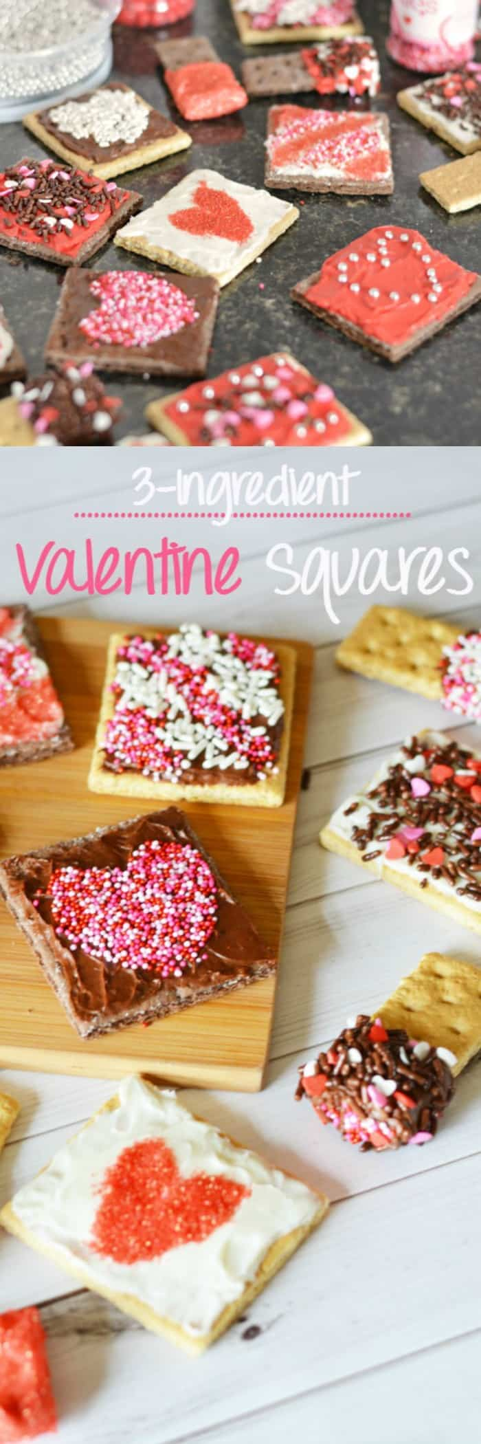 Easy 3 Ingredient Valentine's Day Squares with frosting and sprinkles