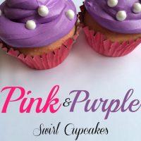 Pink and Purple Swirl Princess Cupcakes