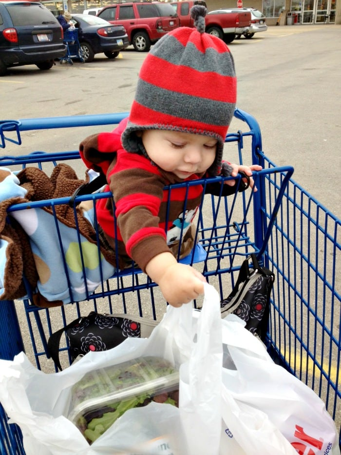 child grocery shopping