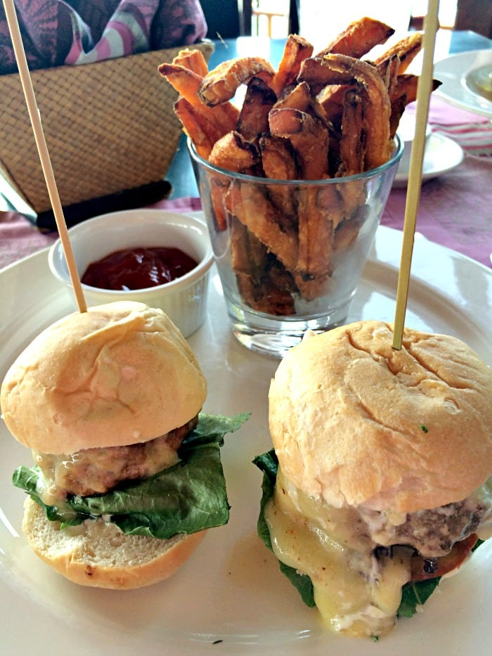 Mini Maison Burgers with Sweet Potato Fries at The Cliff at Cap