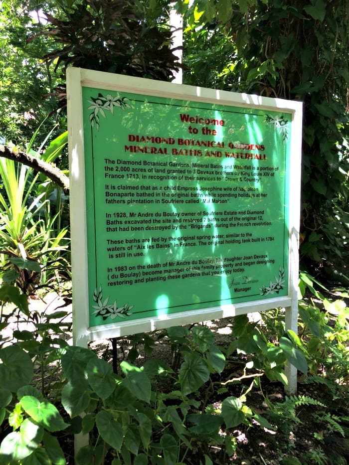 Welcome to the Diamon Botanical Gardens, Mineral Baths and Waterfall