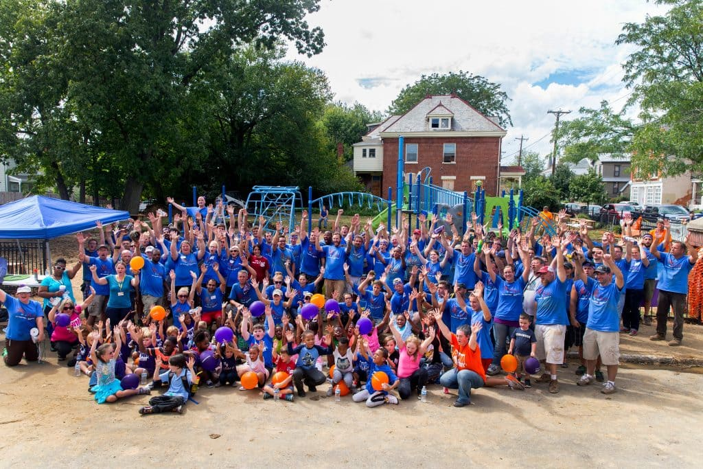 Volunteers celebrate following the #LetsPlayCincinnati event on Friday, September 9, 2016 in Cincinnati, OH. hosted by Let's Play, an initiative led by Dr. Pepper Snapple Group to provide kids with the tools, places and inspiration to make active play a daily priority.