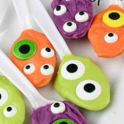 Chocolate Coated Monster Eyes Spoons