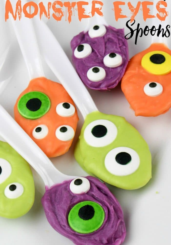 Chocolate Covered Monster Eyes Spoons for Halloween