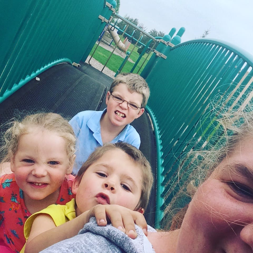 Kids and mom at park