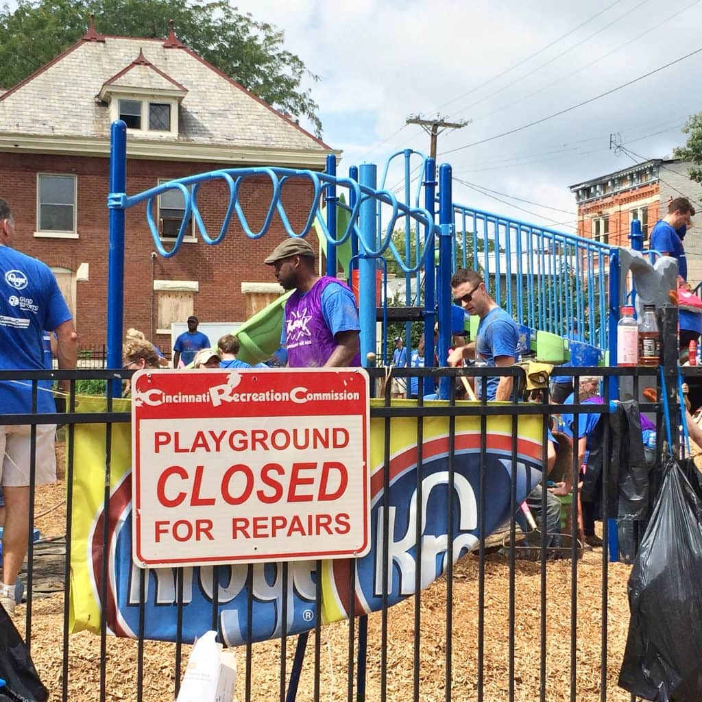 playground being built in Cincinnati
