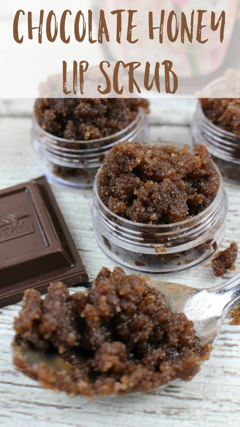 clear pots of chocolate honey lip scrub