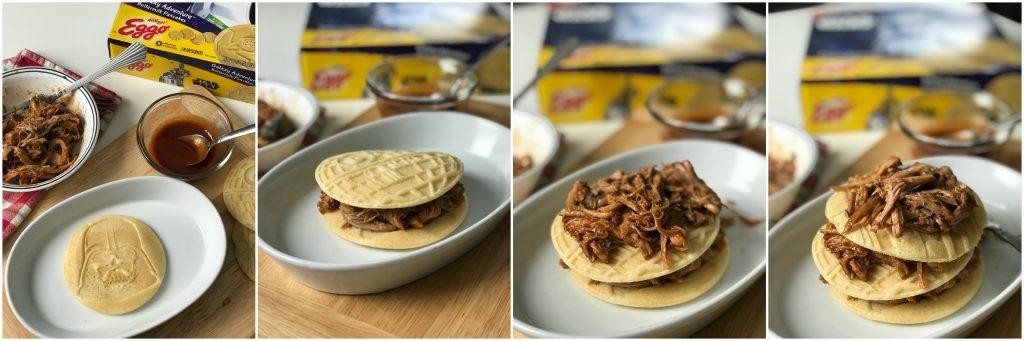 Layer pulled pork between pancakes