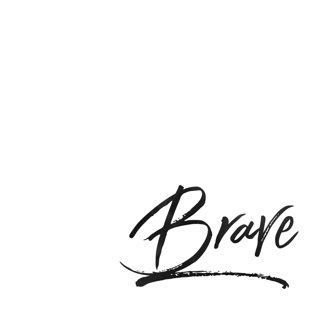 The word brave in black on a white background