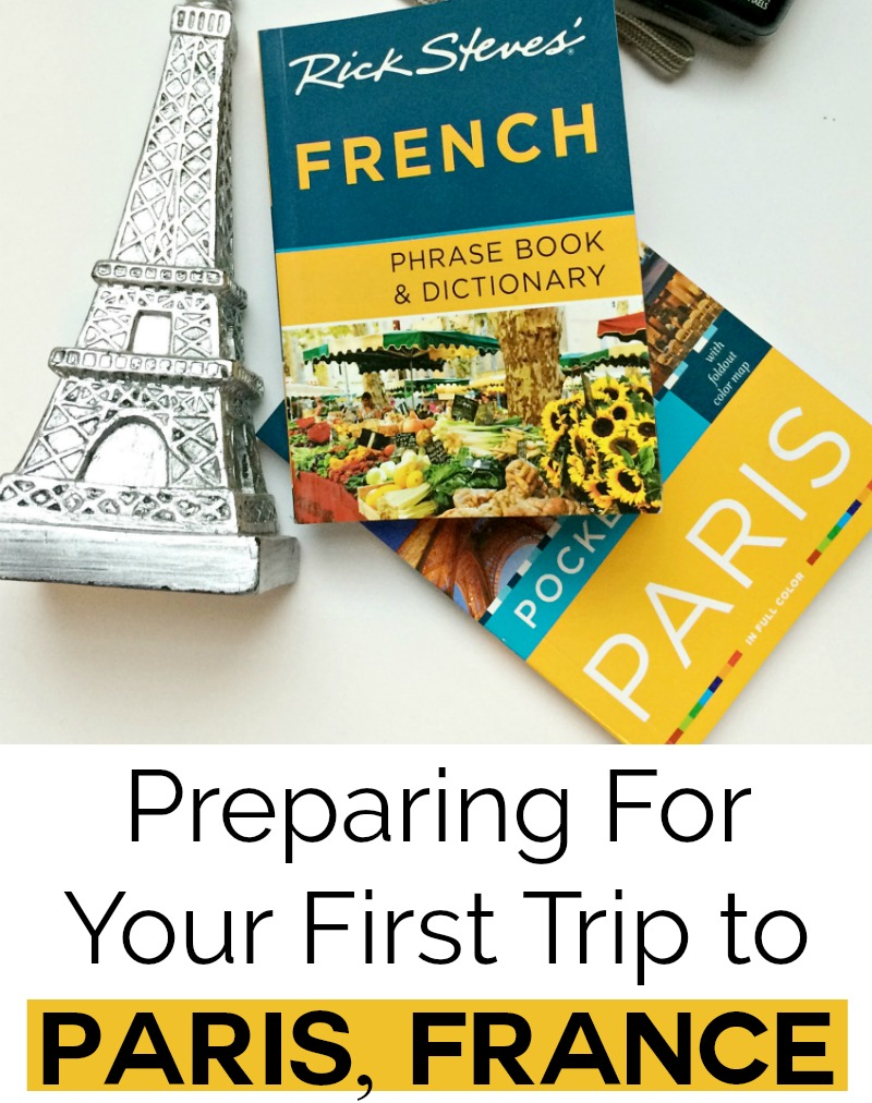 Paris France guide books and Eiffel Tower figurine
