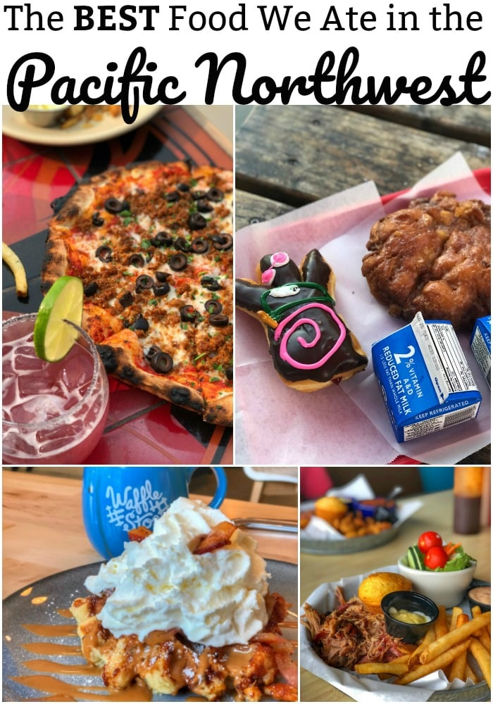 Collage of foods from restaurants in Washington and Oregon states