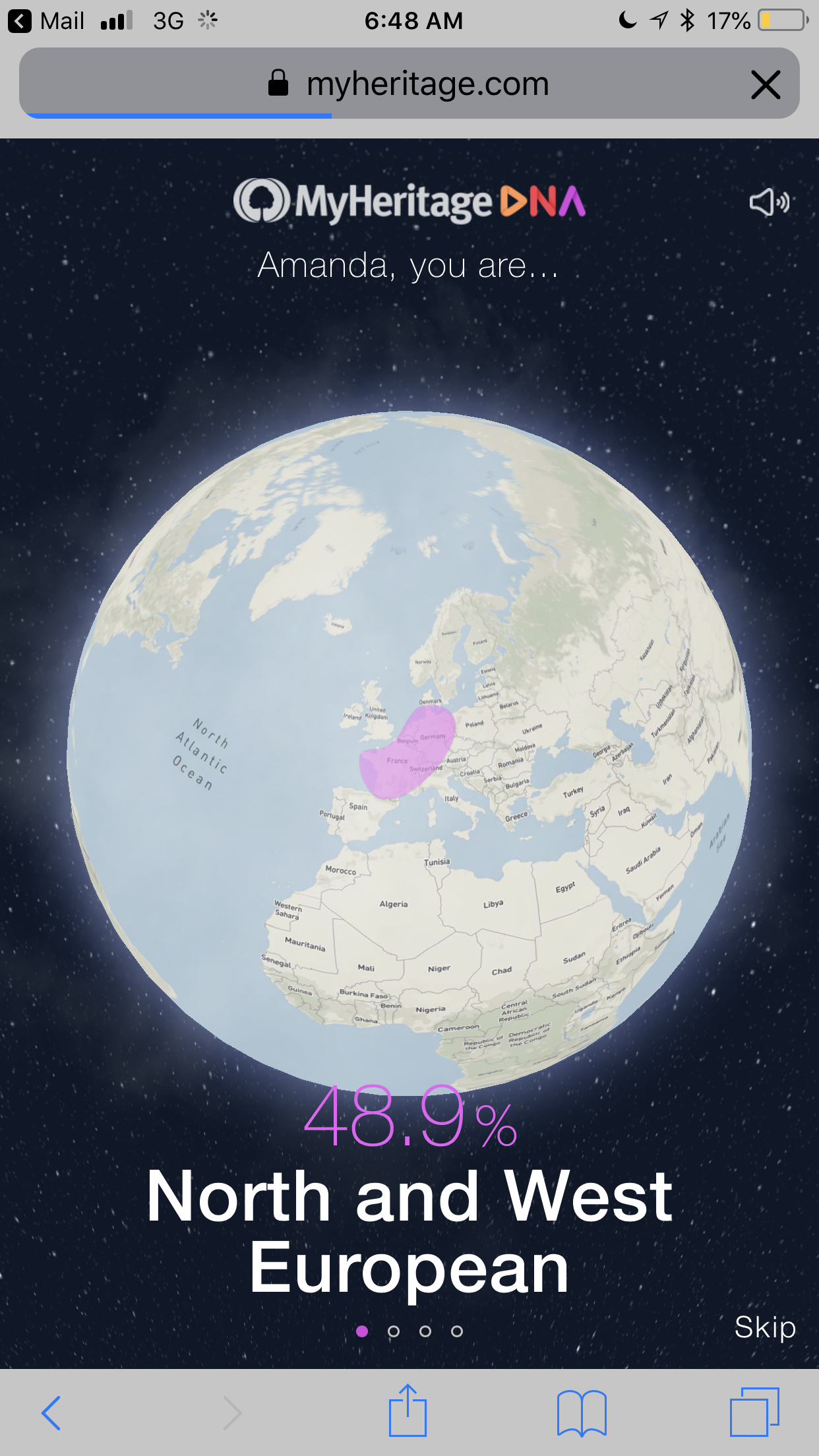 MyHeritage Ethnicity Results screenshot