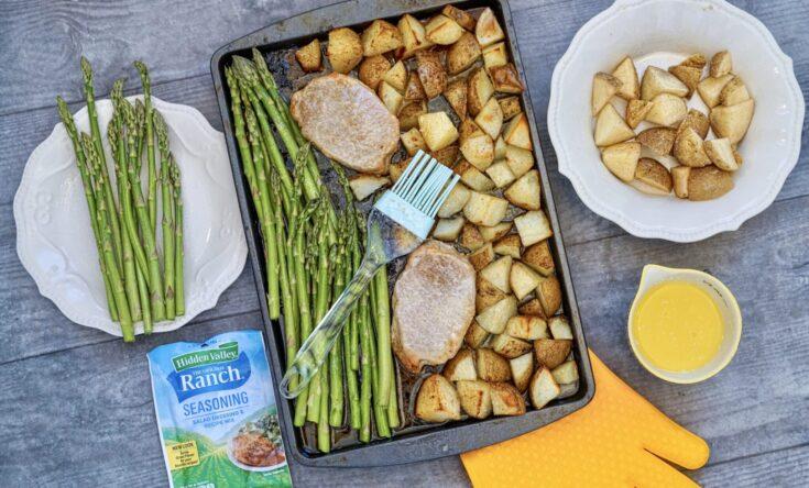 Sheet Pan Ranch Pork Chops, Potatoes, and Asparagus